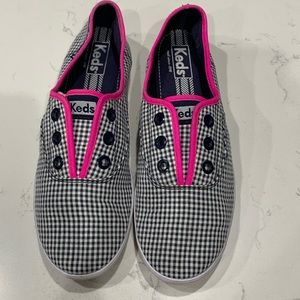 Blue, white and Pink gingham Rookie Keds